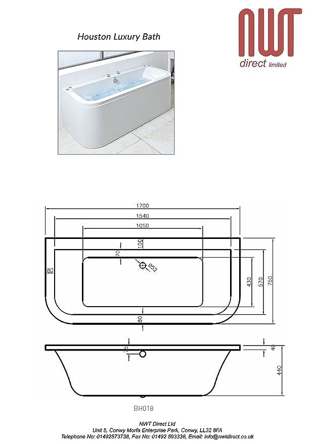 Houston 1700mm (L) x 750mm (W) x 400mm (D) Luxury Amanzonite
