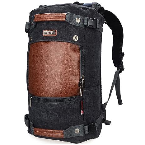 3bbe641b1fc3 WITZMAN Men Travel Backpack Canvas Rucksack Vintage Duffel Bag A2021 (21  INCH Black)