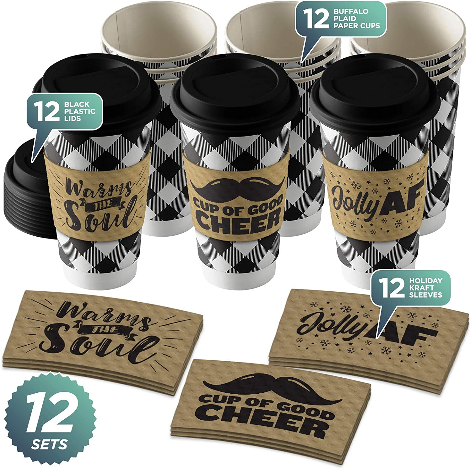 Amazon Com Disposable Coffee Or Hot Chocolate Cups Buffalo Plaid Black White Buffalo Plaid 12 Ct With Lids And Holiday Kraft Sleeves Design 1 Kitchen Dining