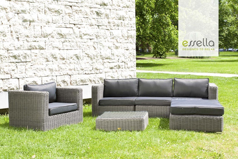 Polyrattan Lounge Cannes 4 Personen   Rundgeflecht   Grau (rund)    Gartenmöbel