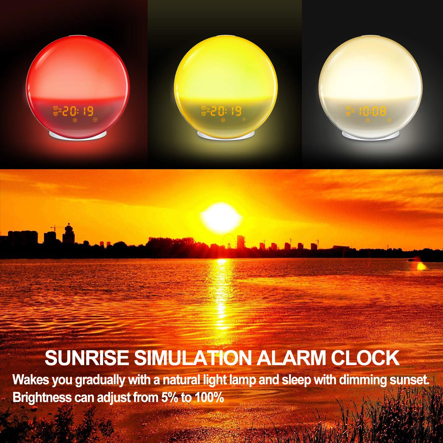 7 Colored Sunrise Simulation and Sunset Fading Night Light Wake Up Light HoMii Alarm Clock Compatible with Alexa and Google Home 4 Alarm 12 Times Snooze Function,USB Charge Port FM Radio
