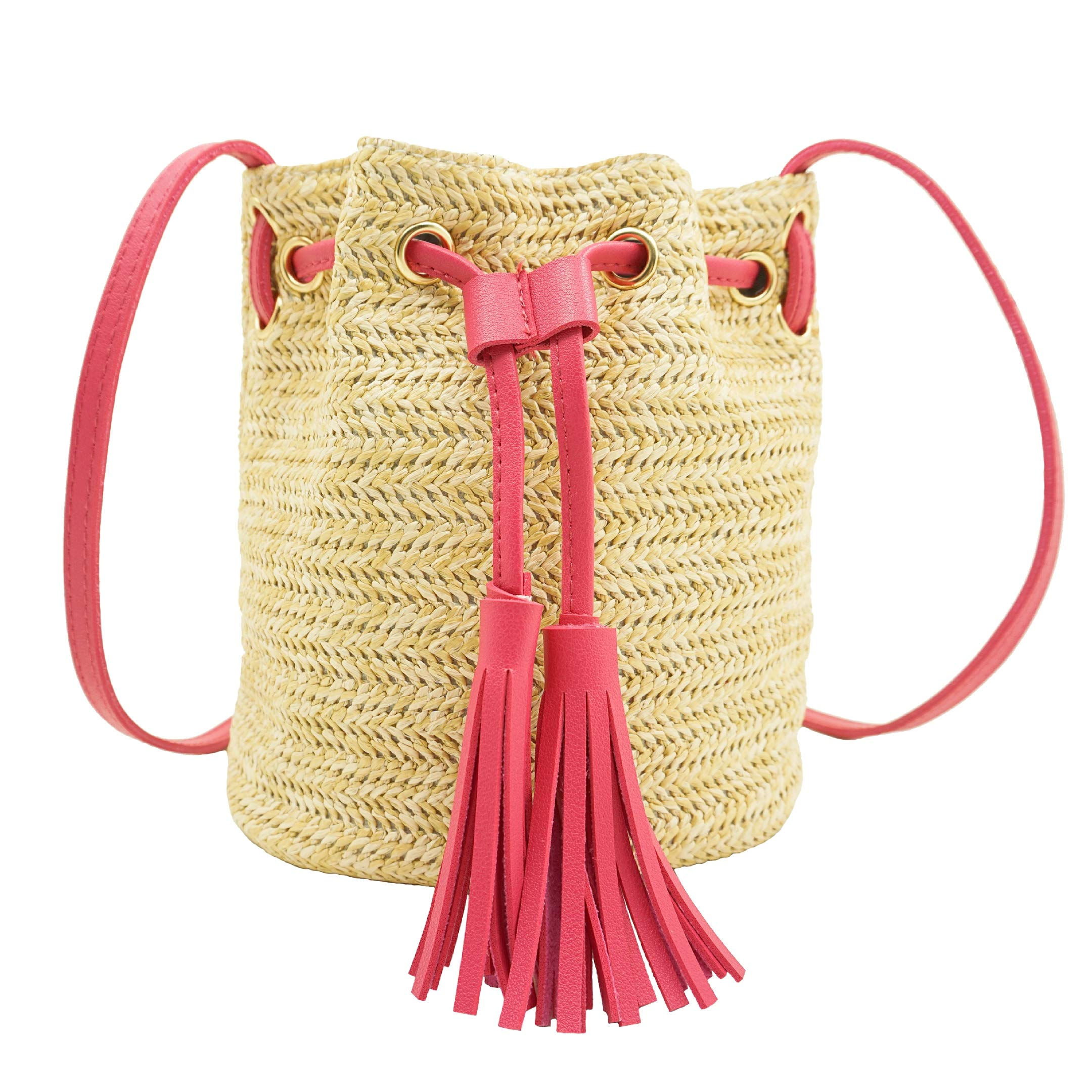 Straw Bag, BCTEX Woven Beach Crossbody Bag Leather Tassel Shoulder Purse Drawstring Summer Bag