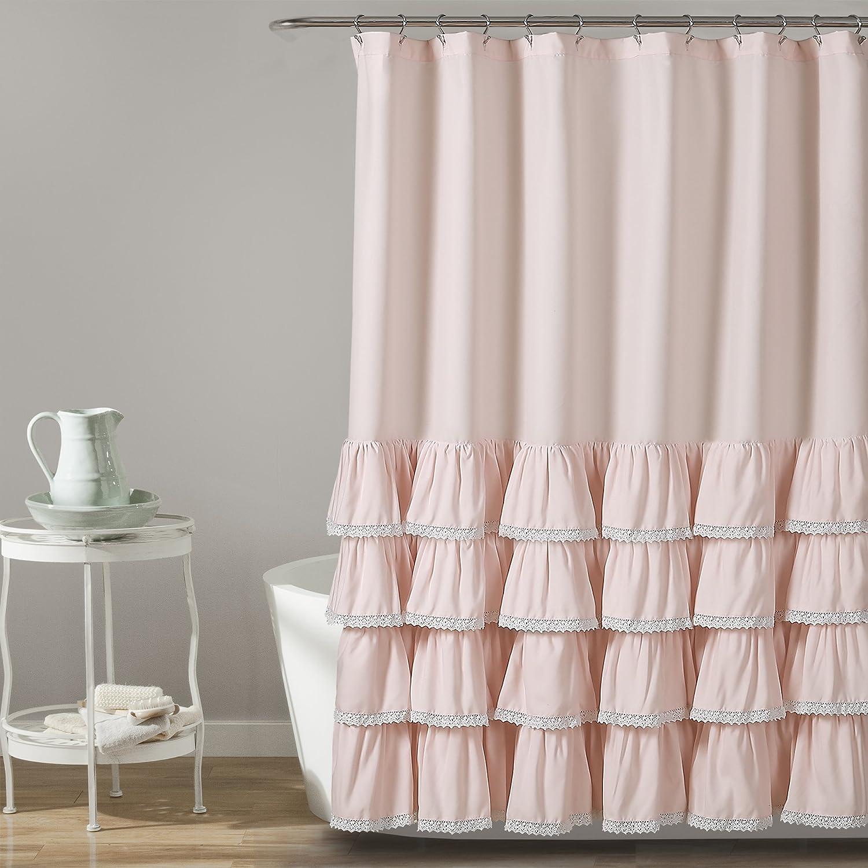"""Lush Decor Ella Lace Ruffle Shower Curtain, 72"""" x 72"""" Blush"""