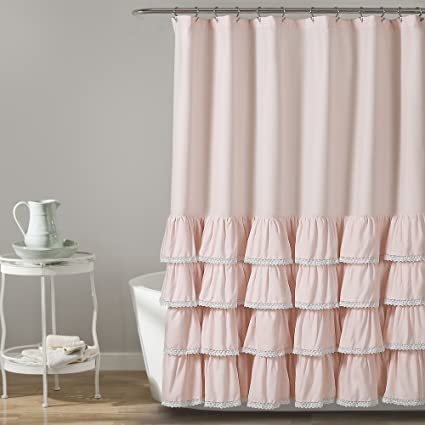 Lush Decor Ella Lace Ruffle Shower Curtain 72quot X