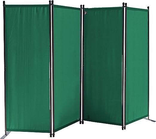 QUICK STAR Paravent 220 x 165 cm Tejido Divisor de habitación Jardín 4-Partición Pared de separación Plegable Balcón Pantalla de privacidad Verde: Amazon.es: Jardín