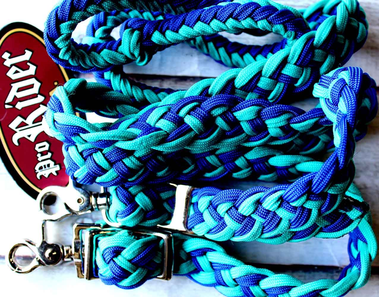 TOUGH-1 KNOTTED CORD BRAIDED NYLON BARREL REINS POLY WESTERN 7 FEET HORSE TACK