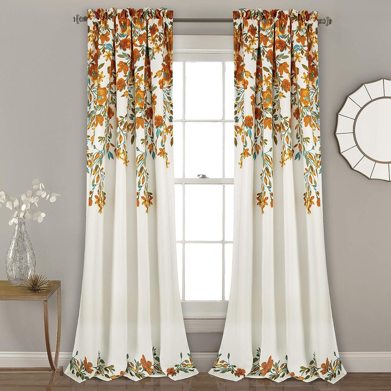 "Lush Decor Tanisha Curtains | Room Darkening Floral Vine Print Design Window Panel Set (Pair), 84"" x 52"" -Tangerine and Turquoise, Tangerine & Turquoise"
