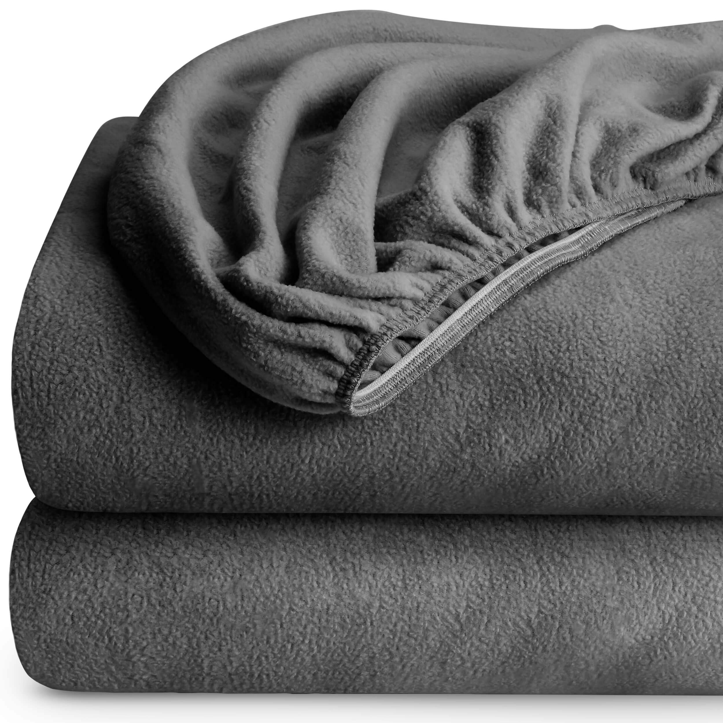 Bare Home Super Soft Fleece Fitted Sheet - Twin Size (2 Pack) - Extra Plush Polar Fleece, Pill Resistant - Deep Pocket - All Season Cozy Warmth, Breathable & Hypoallergenic (Twin, Grey)