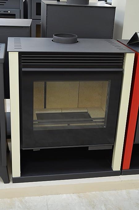 Estufa de leña color marfil chimenea quemador de troncos de leña estufa Top Flue grande Firebox