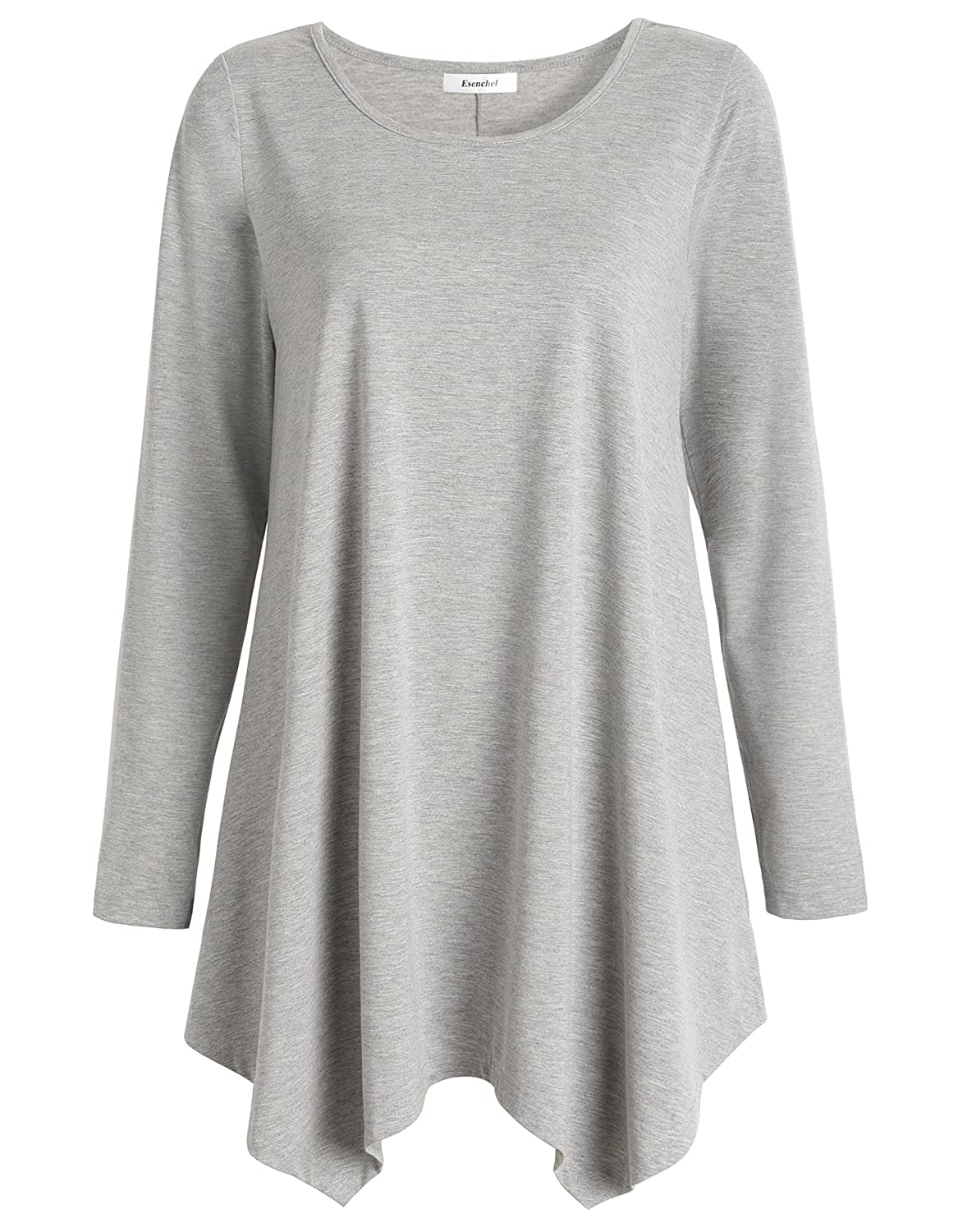 642c1927986 Features flattering swing style, long sleeve, scoop neck top with  handkerchief hemline. Stretchy fabric provides soft feeling against skin