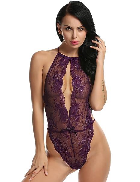 a6a7c3c6f62 Amazon.com  Hotstype Women Sexy One Piece Lingerie Halter Backless Hollow Floral  Lace Teddies Sleepwear Nightwear  Clothing