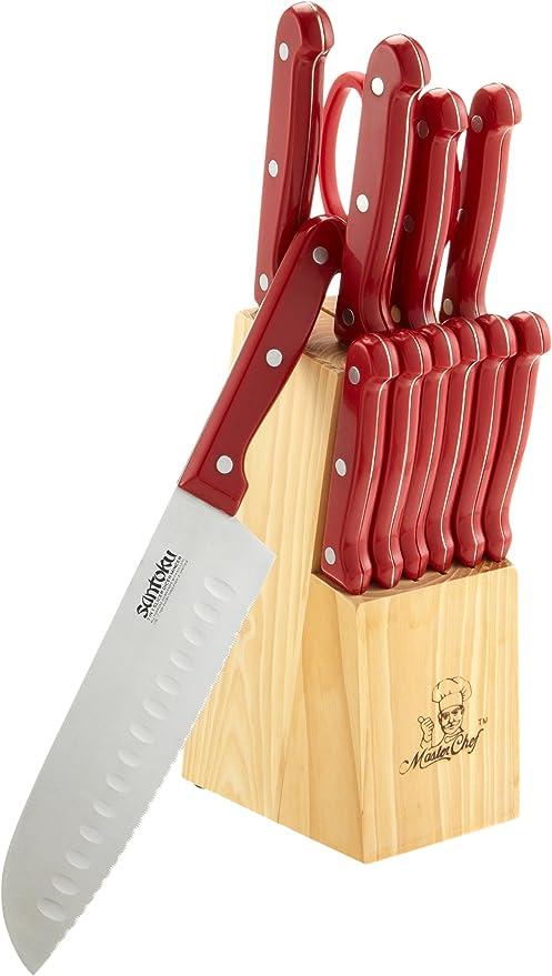 Masterchef 13-Piece Knife Set with Block, Red