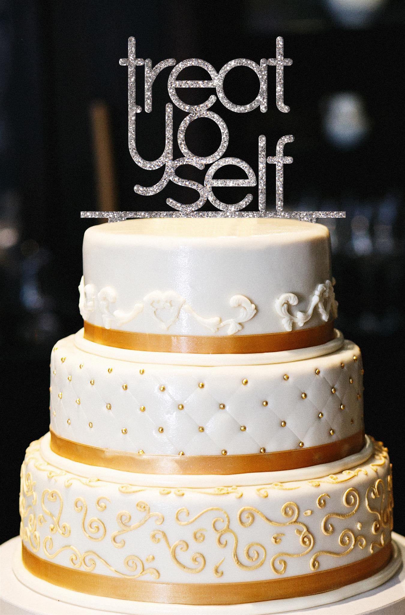 Treat Yo Self Cake Topper, Glitter Birthday Cake Topper, Birthday Party Cake Topper, Glitter Cake Topper, Gold Cake Topper (13'', Glitter Silver) by American Sign Letters