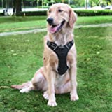 E-PRANCE Dog Harness No Pull Front Range Pet Vest Harness Adjustable Reflective Easy Walking for Small Medium Large Dogs, Black
