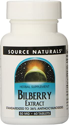 Source Naturals Bilberry Extract 50 mg Standardized Botanical Antioxidant – 60 Tablets