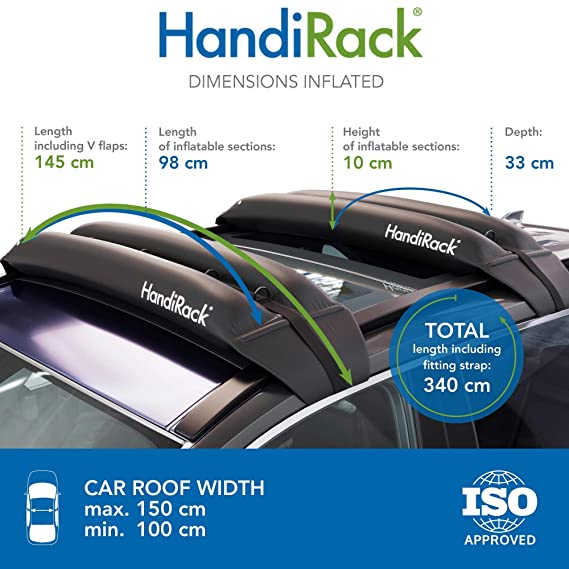 HandiRack - Barras de baca universales e inflables (negras ...
