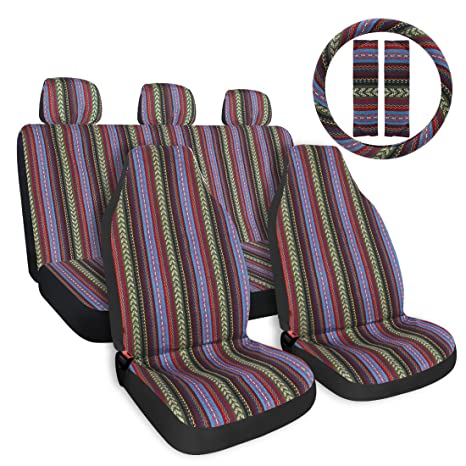 Copap Multi Color Baja Saddle Blanket Car Seat Cover 10pc Universal Seat Cover Full Set With 15 Steering Wheel Cover Seat Belt Protectors Fits