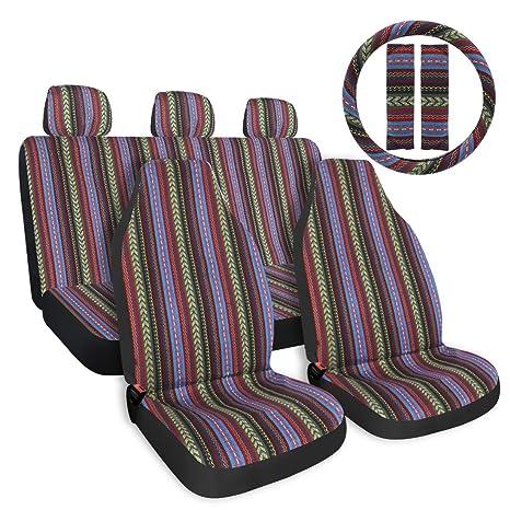 Copap Multi Color Baja Saddle Blanket Car Seat Cover 10pc Universal Full Set