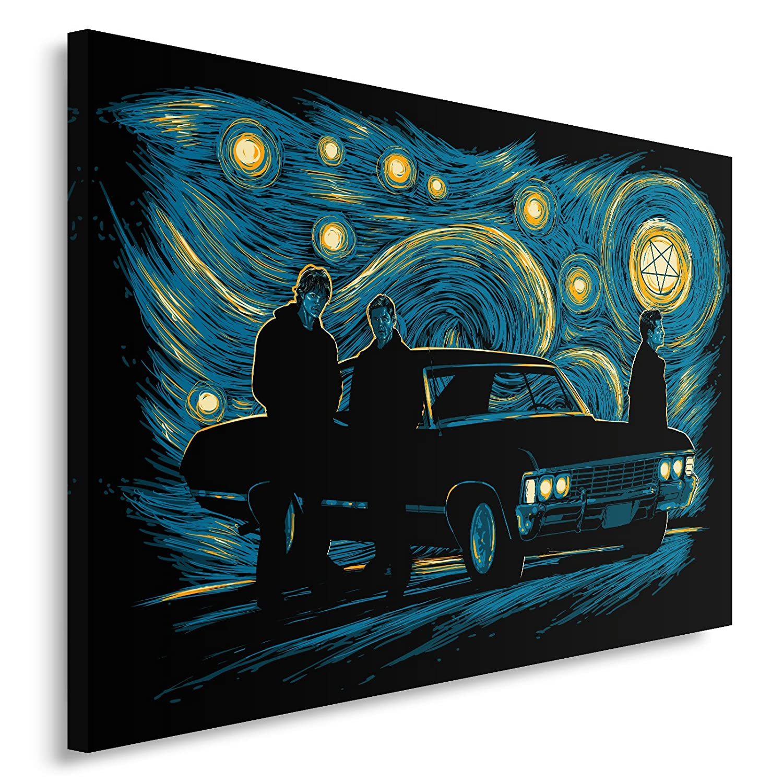 Feeby. Wandbild - 1 Teilig - 70x50 cm, Leinwand Bild Leinwandbilder Bilder Wandbilder Kunstdruck, Supernatural Night - DDJVigo, Film, Marineblau