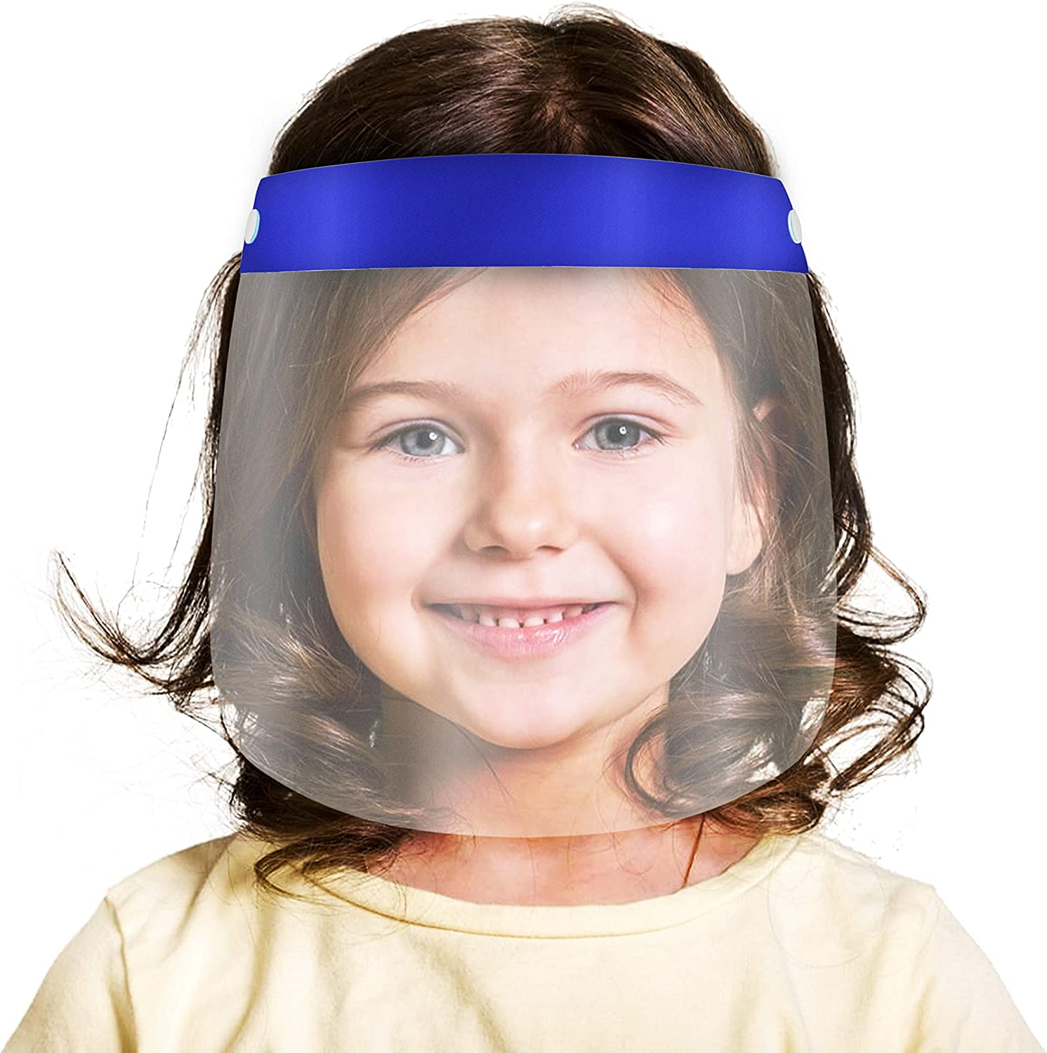 7Pcs Kids Face S̲h̲i̲e̲l̲d̲ Lightweight Transparent Safety Face Protective Full Face Covering with Elastic Band for Children