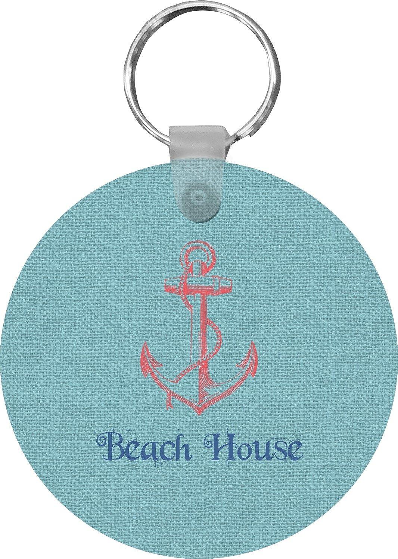 Chic Beach House Round Keychain
