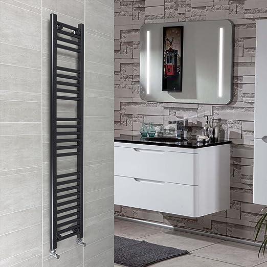 companyblue 300 mm de Ancho Negro toallero radiador Plano Escalera para baño con Estilo, Metal, Negro, 1400mm High: Amazon.es: Hogar