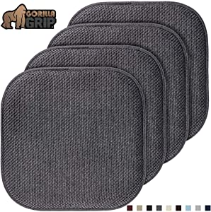 Gorilla Grip Original Premium Memory Foam Chair Cushions, 4 Pack, 16x16 Inch, Thick Comfortable Seat Cushion Pad, Large Size, Slip Resistant, Durable Soft Mat Pads for Office, Kitchen Chairs, Gray
