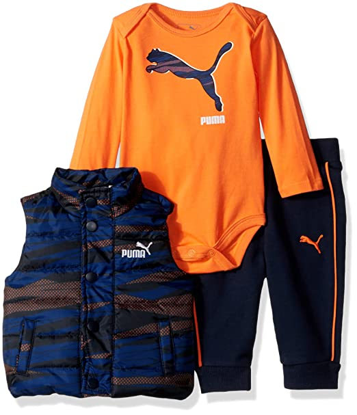 76b29b1db9f3 PUMA Baby Boys  3 Piece Printed Vest Bodysuit Set Splash