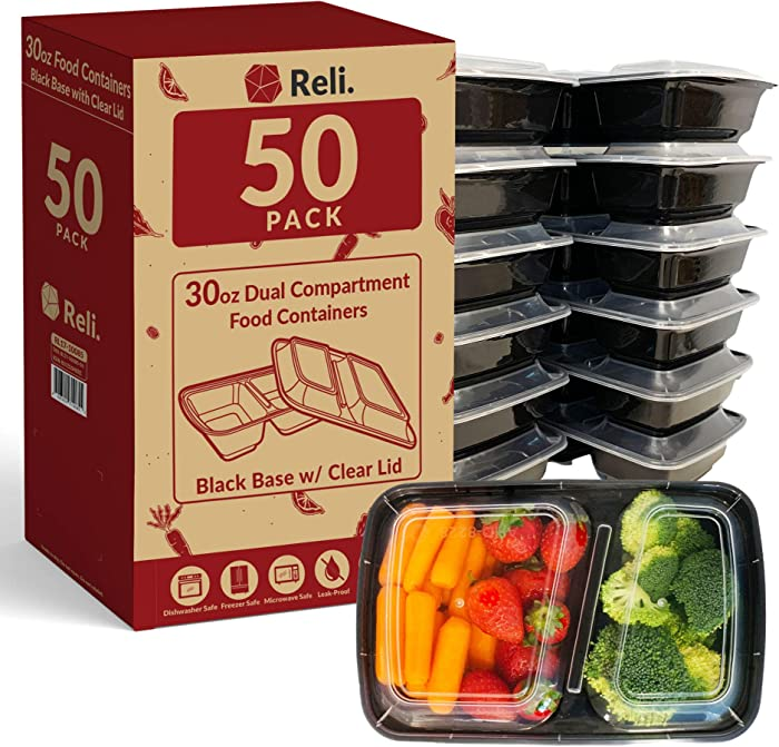 Reli. Meal Prep Containers, 30 oz. (50 Pack) - Black 2 Compartment Food Containers with Lids, Microwavable Food Storage Containers - Black Reusable Bento Box/Lunch Box Containers for Meal Prep (30 oz)