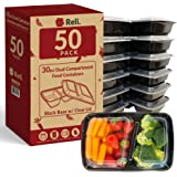 Reli. Meal Prep Containers, 30 oz. (50 Pack) - Black 2 Compartment Food Containers with Lids, Microwavable Food Storage Conta