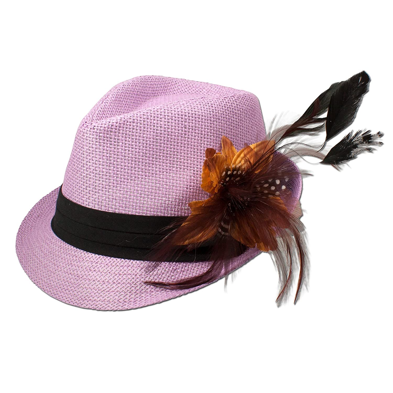 Alpenflüstern Damen Strohhut Trachtenhut rosa mit Feder-Clip ADV03100035 cognac