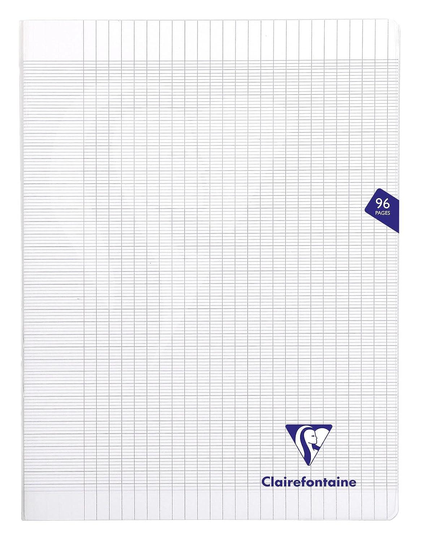 Clairefontaine Mimesys 303381C Cahier piqu/é polypro grands carreaux 140 pages 90 g 24 x 32 cm Couleur Al/éatoire