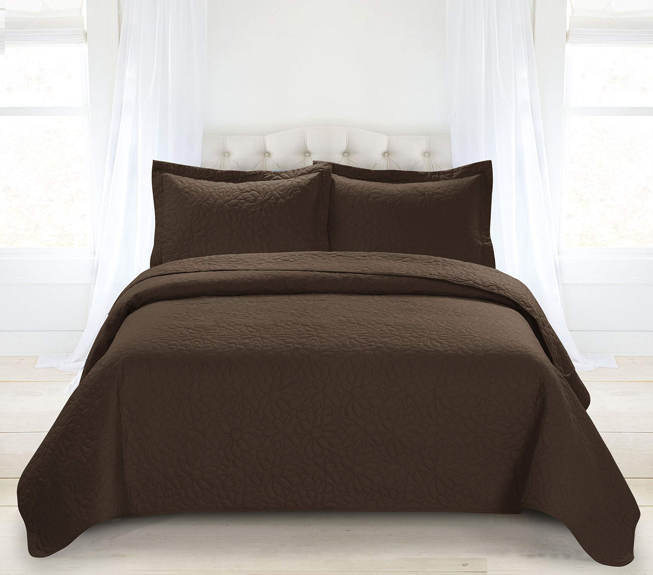 HIG 3 Piece TINOS Ultrasonic Embossed Bedspread Set-Oversized Coverlet 100x106in, 118x106in (Queen, Chocolate)