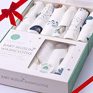Bamboo Muslin Baby Washcloths   Organic Muslin Cotton Face Towels   Baby Wipes   Soft Bath Washcloths for Newborn with Sensitive Skin   Shower Baby Registry   6 Pack   Extra Large