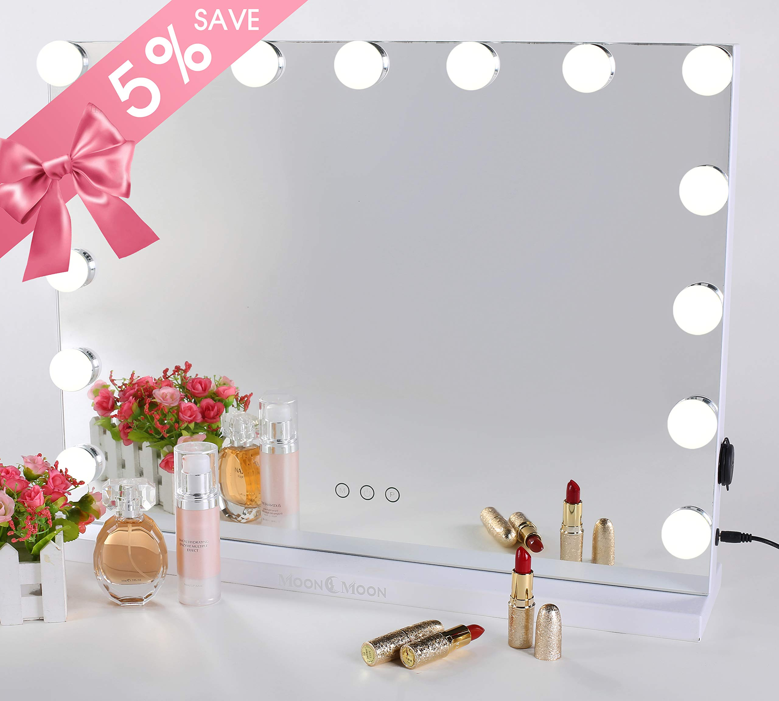 MoonMoon Hollywood Vanity Mirror with Lights,Professional Makeup Mirror & Lighted Vanity Makeup mirror with Smart Touch Adjustable LED Lights (white) by Moon Moon