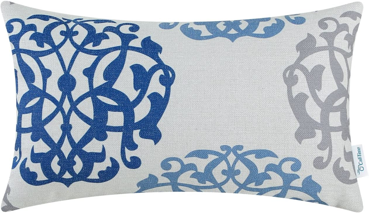 CaliTime Canvas Pillow Cover Case for Couch Sofa Home Decoration Three-Tone Floral Compass Geometric 12 X 20 Inches Blue/Gray