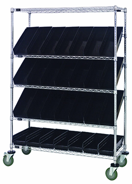 "B008I88SVO Quantum Storage Systems WRCSL5-63-1848-104BK 5-Tier Slanted Wire Shelving Suture Cart with 28 QSB104 Black Economy Shelf Bins, 2 Horizontal and 3 Slanted Shelves, Chrome Finish, 69"" Height x 48"" Width x 18"" Depth 81h-5p6k9nL._SL1500_"