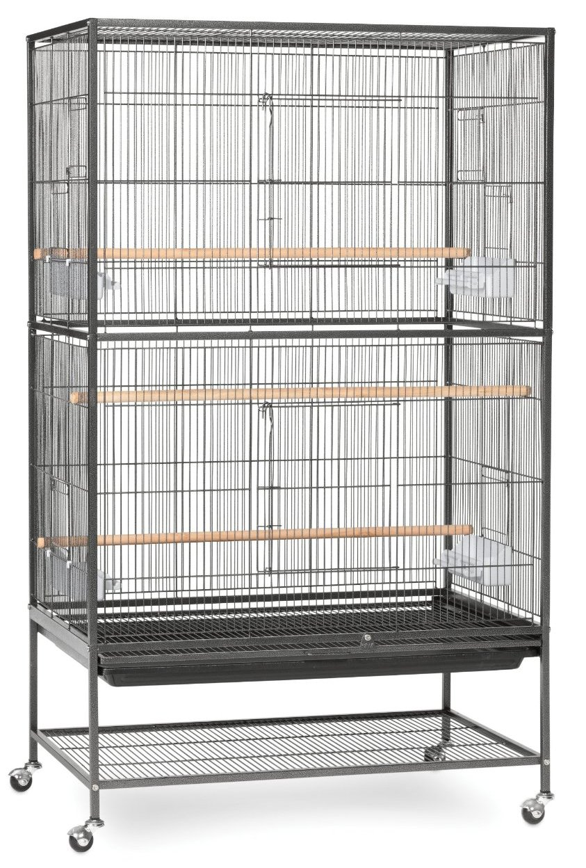 Extra Large Wrought Iron Flight Multiple Parakeets, Canaries, Finches, Sugar Glider Bird Cage 1/2-Inch Wire Spacing With Rolling Stand *Black Vein* Mcage