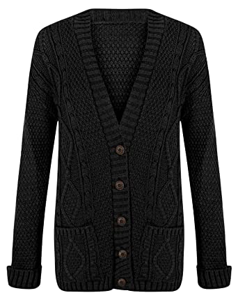 6558269048 Fashipap Womens Ladies Cable Chunky Knitted 5 Button Long Sleeves Grandad  Cardigans S M (
