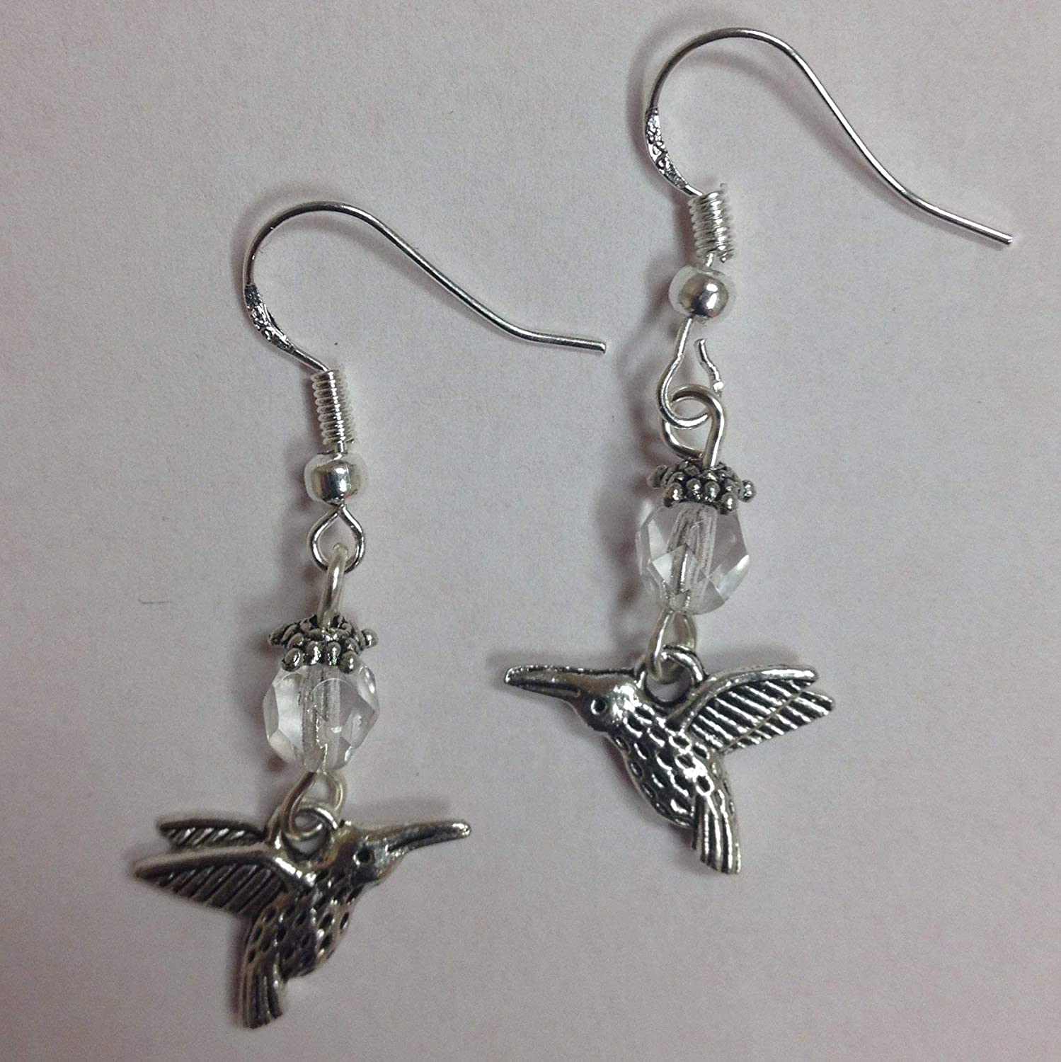 Hummingbird Nature Themed Bird Earrings with clear crystal accent beads on sterling silver earwires