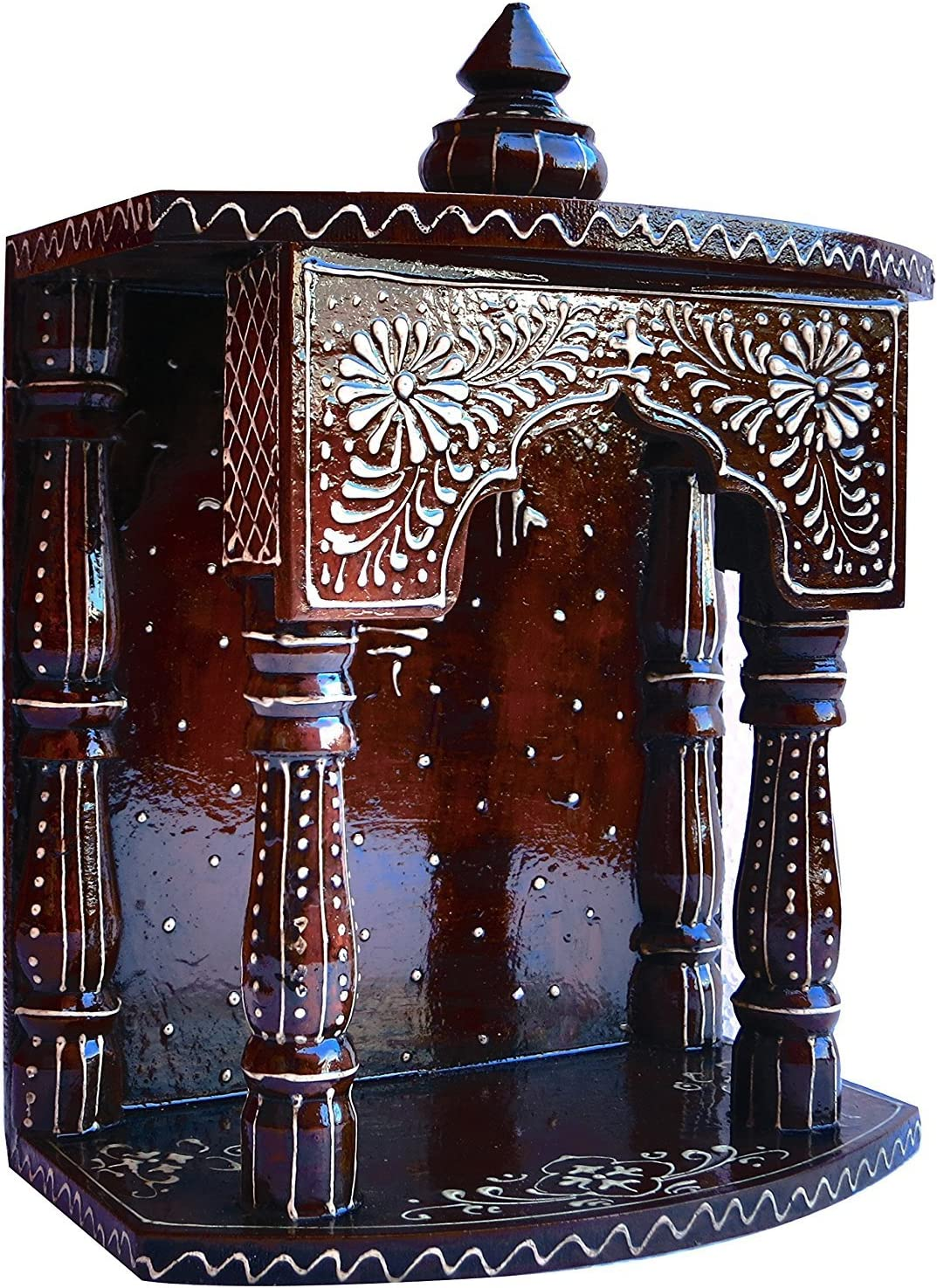 A Auspicious and Religious D/écor and Handicraft /& Religious Art J M JEWELS Hindu Religious Temple Made with Wood /& MDF Hand Painted with Emboss Cone Work with Om Symbol
