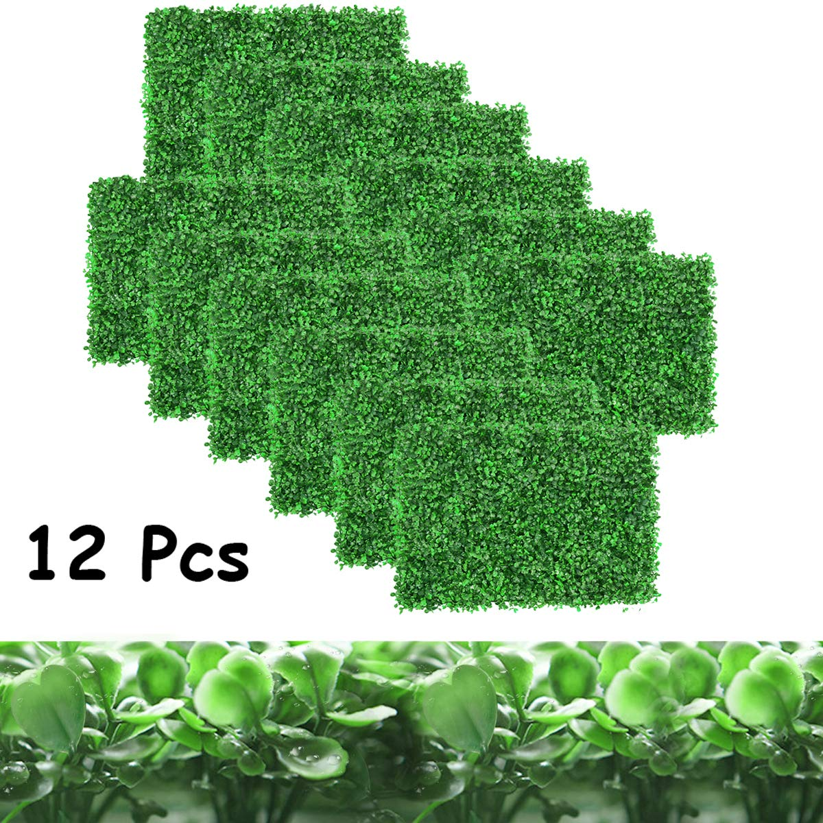 DQS Artificial Boxwood Panels - 12 Pieces of Faux Hedge Wall Backdrop, 24 x 16 Inch Green Boxwood Wall Mat for Outdoor, Balcony, Garden Fence Screen and Indoor Wall Decoration