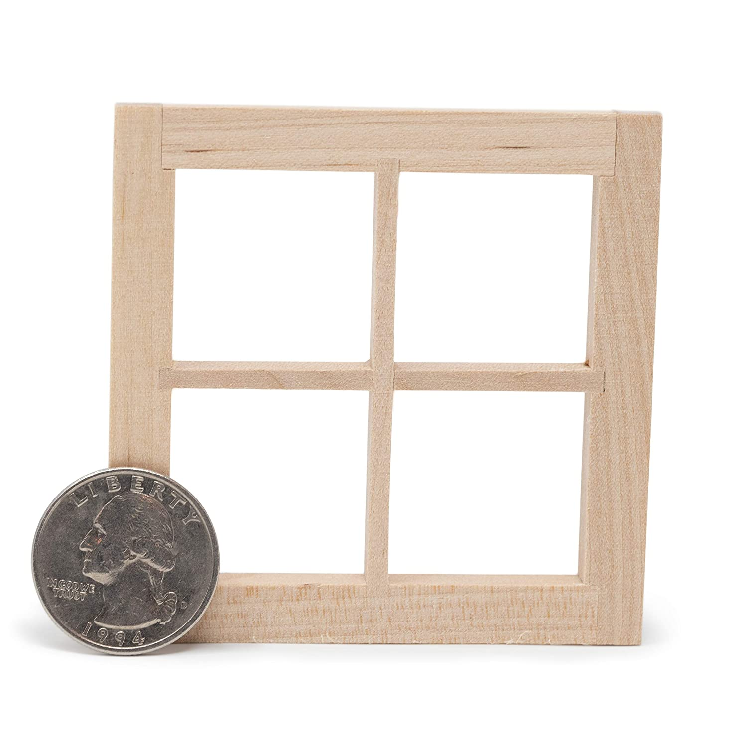 American Heritage Industries Dollhouse Windows- Pair of Wooden Dollhouse Windows Accurately Scale 1:12 Windows for Your Dollhouse or Model Town an Product with Four Panes