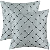 CaliTime Pack of 2 Cushion Covers Throw Pillow Cases Shells for Home Sofa Couch 18 X 18 Inches, Modern Diamonds Shape Geometric Chain Embroidered, Gray