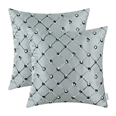 CaliTime Pack of 2 Cushion Covers Throw Pillow Cases Shells for Sofa Couch Home Decoration 18 X 18 Inches Modern Diamonds Shape Geometric Chain Embroidered Gray