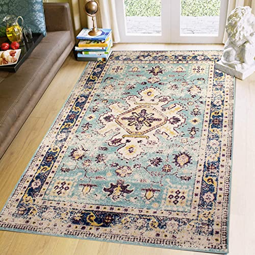 Super Area Rugs Persian Oriental Blooming Medallion Vintage Rug 3 3 X 5 Mint Yellow Navy Purple Carpet