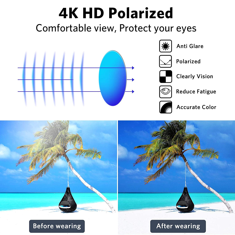 Gafas de sol polarizadas para hombres y mujeres IPOW protector solar 400 UV con lentes espejadas