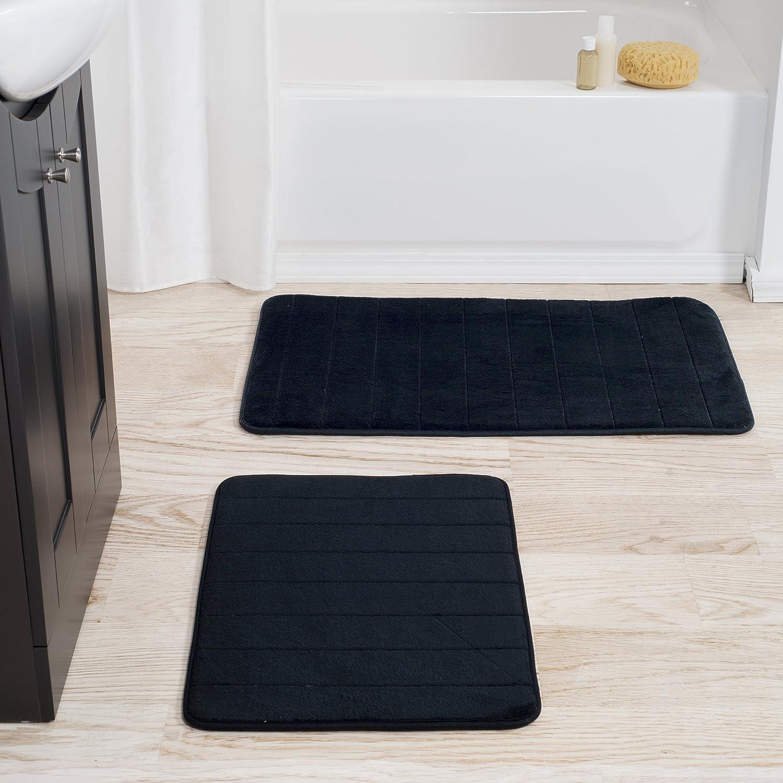 Lavish Home 2 Piece Memory Foam Striped Bath Mat, Black
