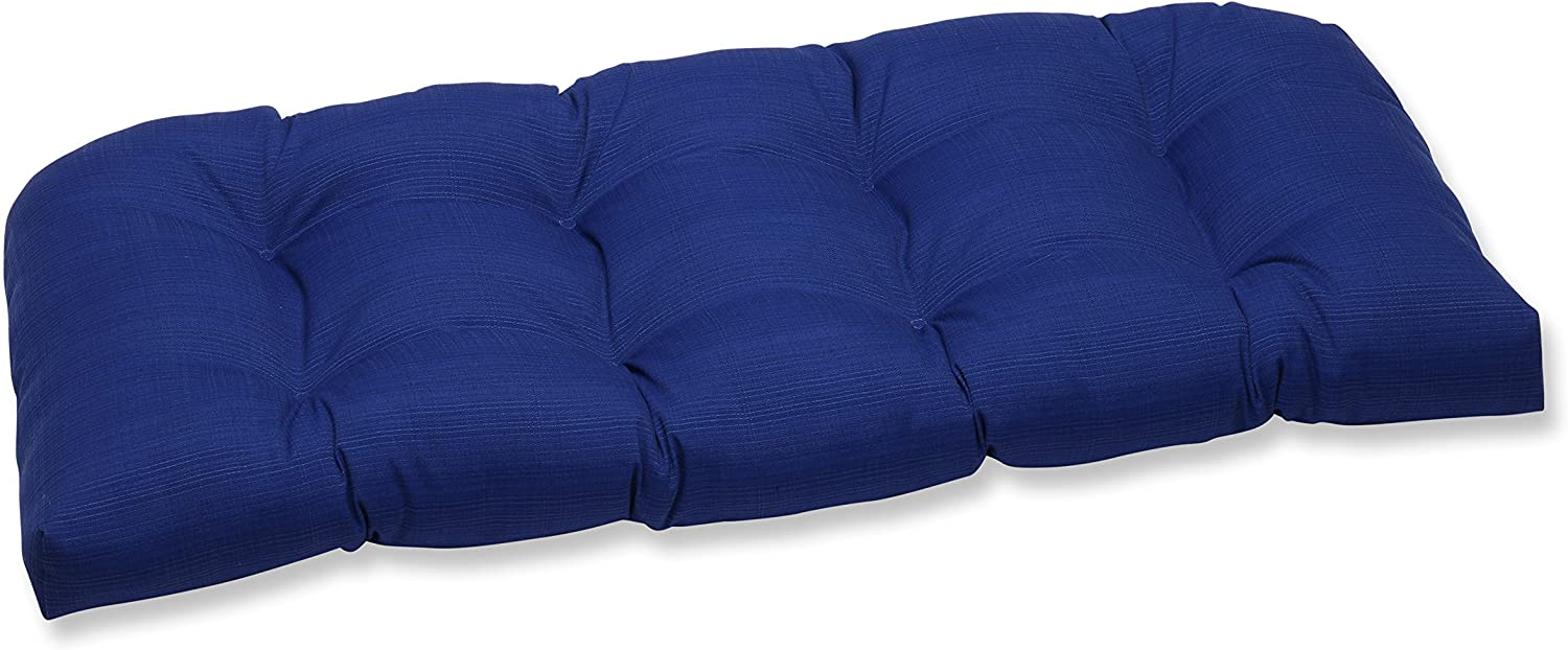 "Pillow Perfect Outdoor/Indoor Veranda Cobalt Tufted Loveseat Cushion, 44"" x 19"", Blue"
