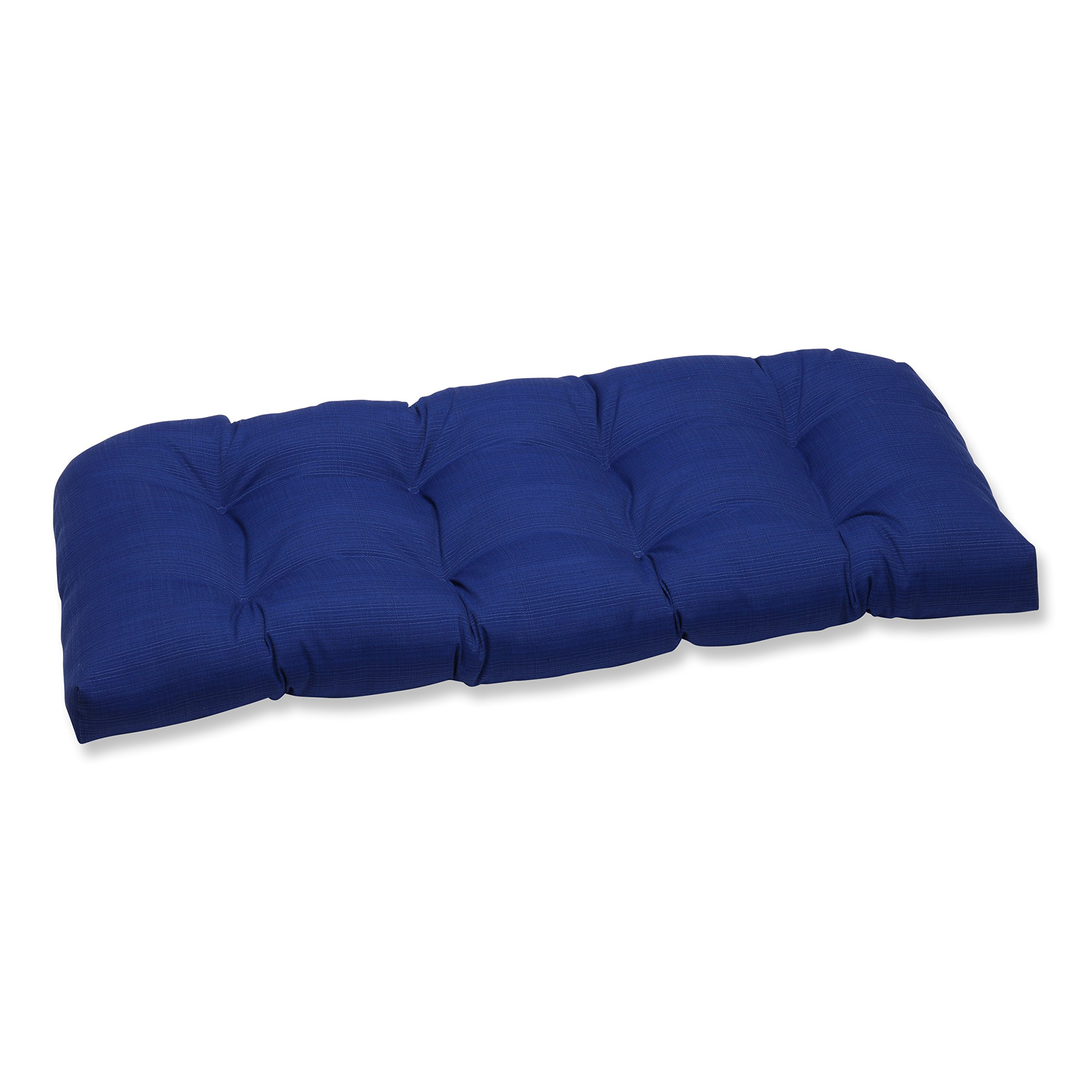 Pillow Perfect Outdoor/Indoor Wicker Loveseat Cushion 44'' x 19'' Navy